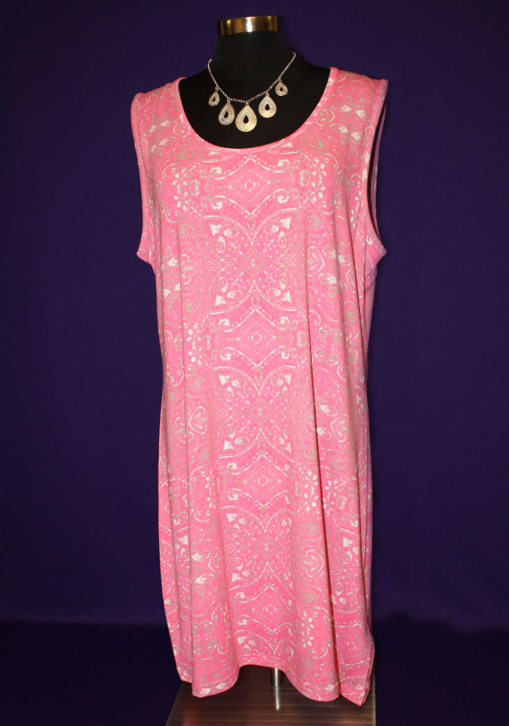 Pink flowy dress with gold design available at Mon General Hospital Apparel Gift Shop