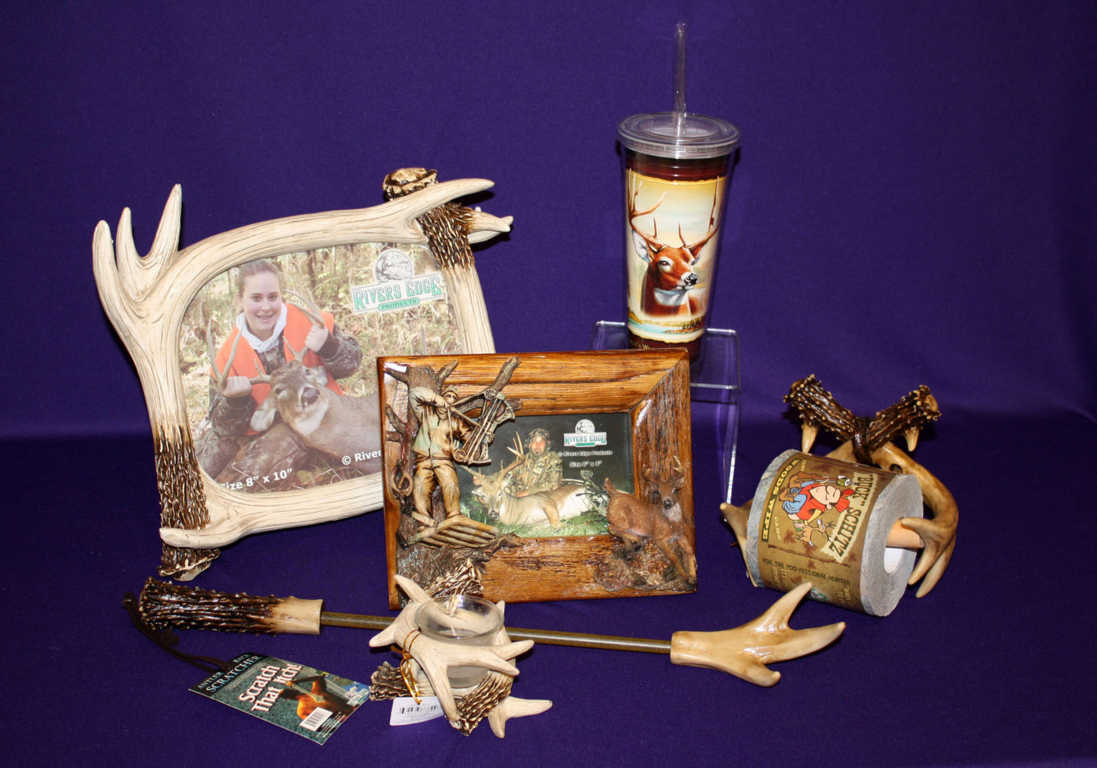 Home accents such as a picture frame, mug and tumbler cup in deer theme available at Mon General Hospital Gift Shop