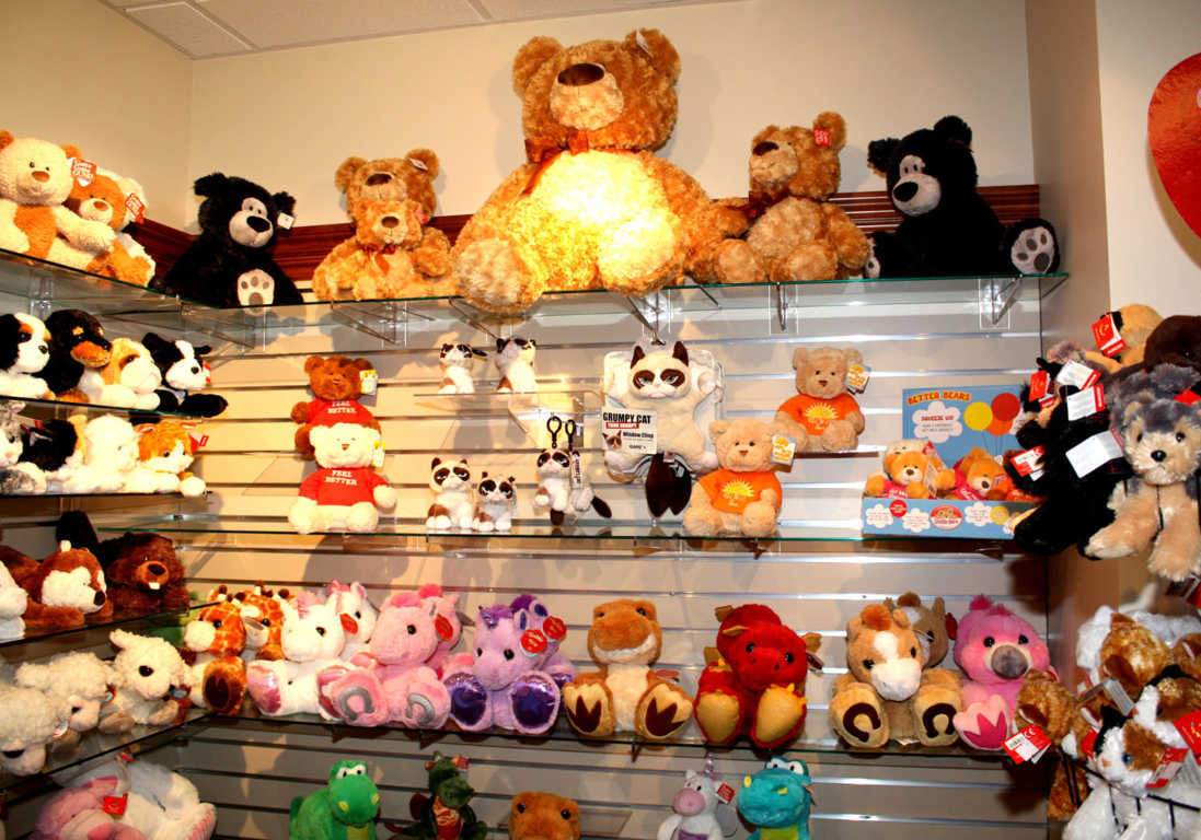 A variiety of Plush Toys on Shelves Available at Mon General Hospital Gift Shop