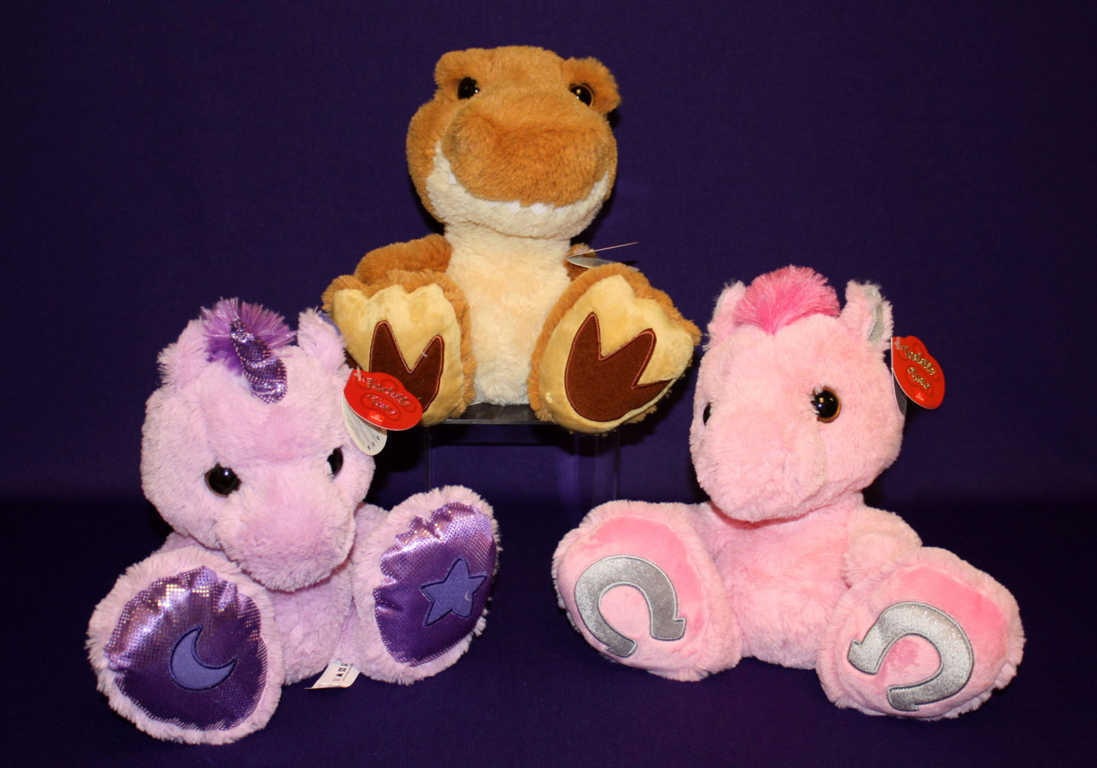 Plush Dinasaur and Pink Unicorn Plush Toy Available at Mon General Hospital
