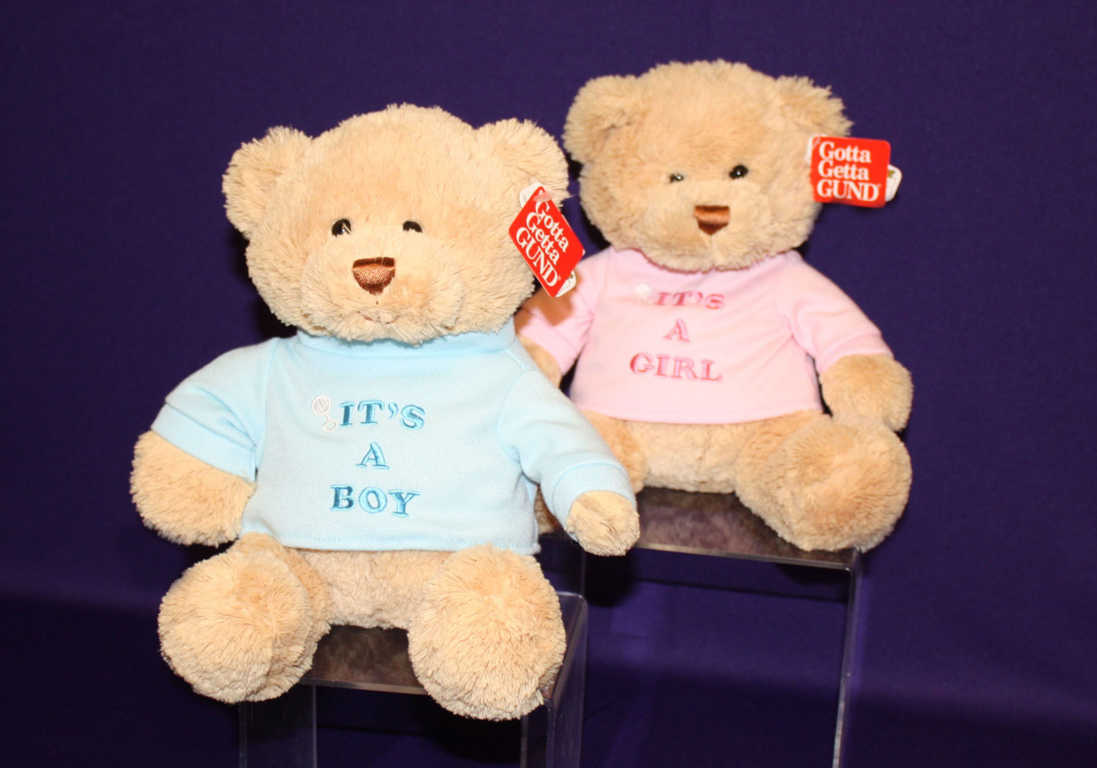 Brown Plush Toy Bear With Blue It's a Boy Shirt and Pink It's a Girl Shirt Available at Mon General Hospital Gift Shop