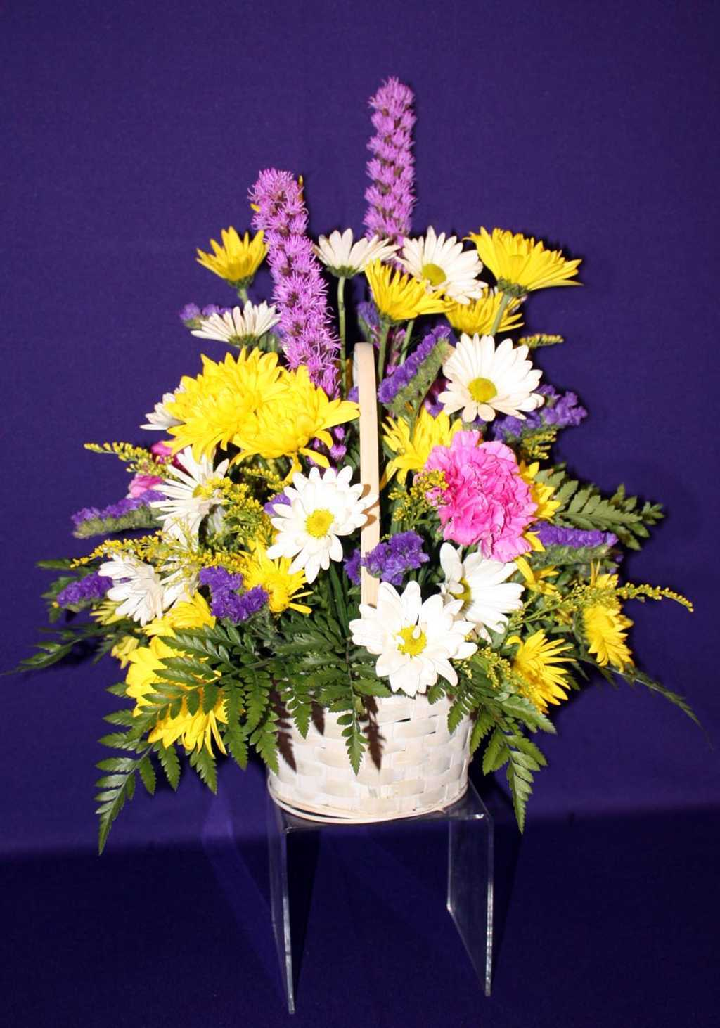 Yellow mums and white daises in a basket from Mon General Hospital Gift Shop