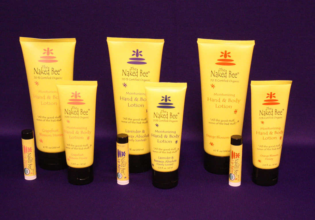 The Naked Bee Brand of Hand and Body Lotion and Chapstick available at Mon General Hospital Gift Shop