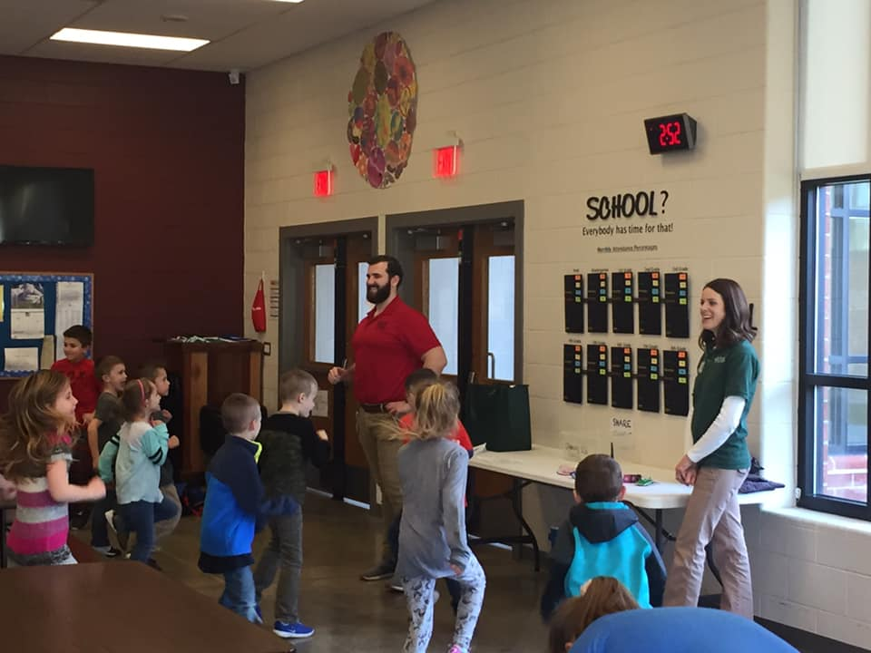 Jody Varda, Physical Therapy Manager, and Luke Senko, Wheeling Jesuit University Physical Therapy student, talk to Bruceton Elementary Students about Exercise and Nutrition.