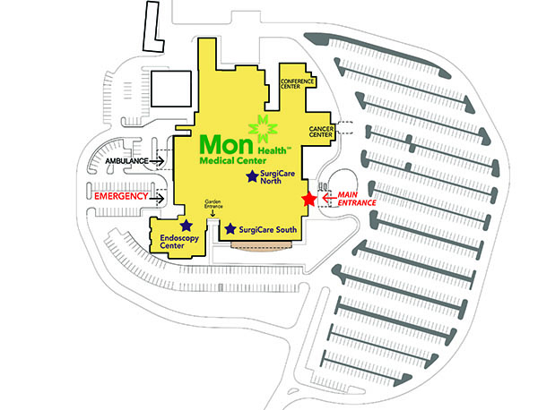 Mon Health Medical Center Parking Map
